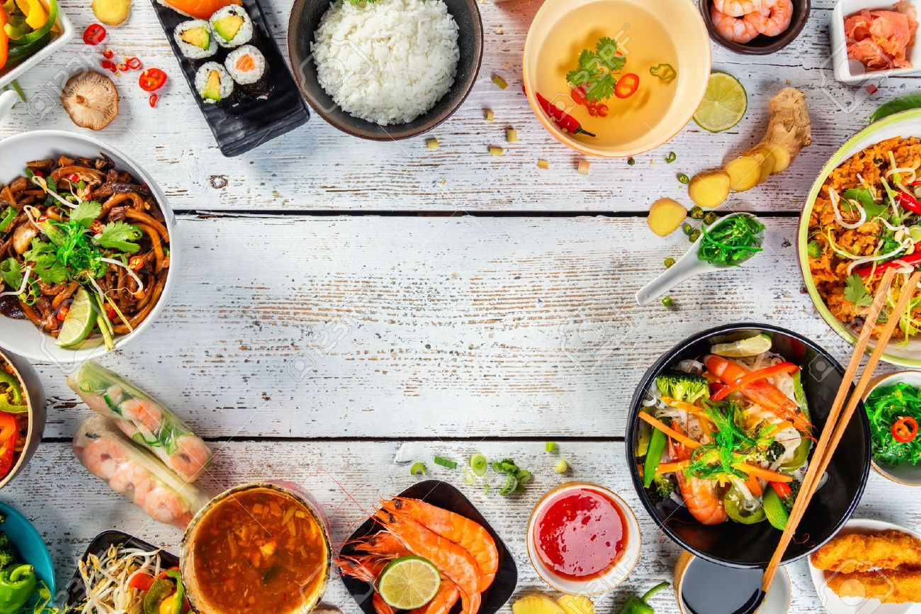 Asian food served on white wooden table, top view, space for text. Chinese and vietnamese cuisine set. - 72245499