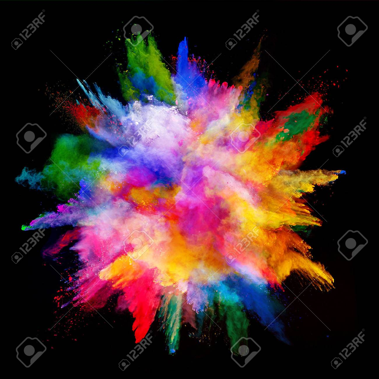 Explosion of colored powder, isolated on black background. Power and art concept, abstract blust of colors. - 76794578