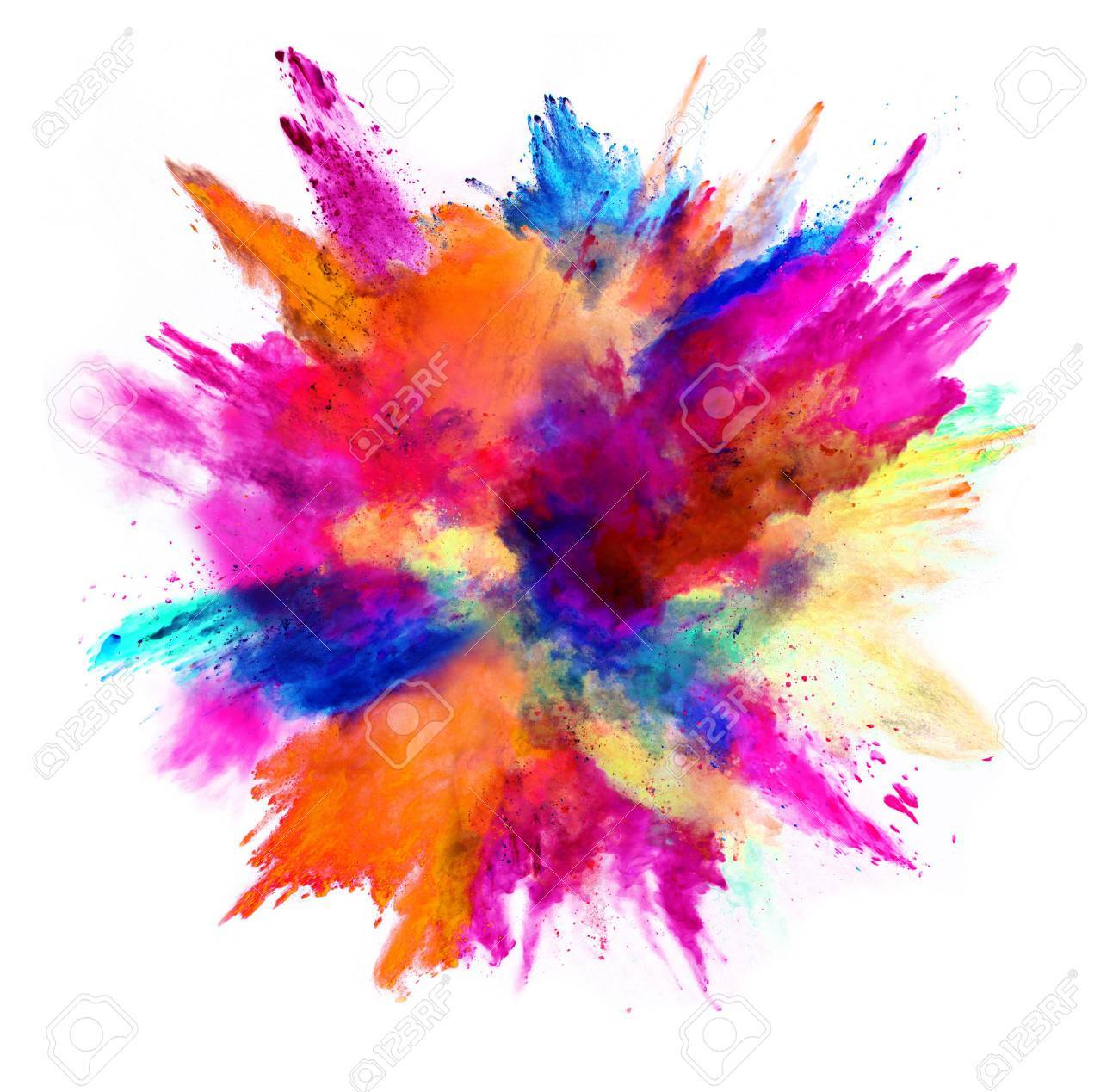 Explosion of colored powder, isolated on white background. Power and art concept, abstract blust of colors. - 76794585