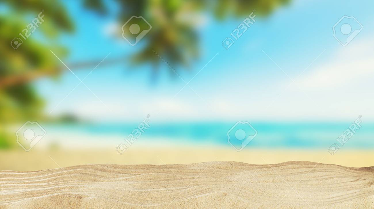 Tropical beach with sand, summer holiday background. Travel and beach vacation, free space for text or product placement. - 80622616