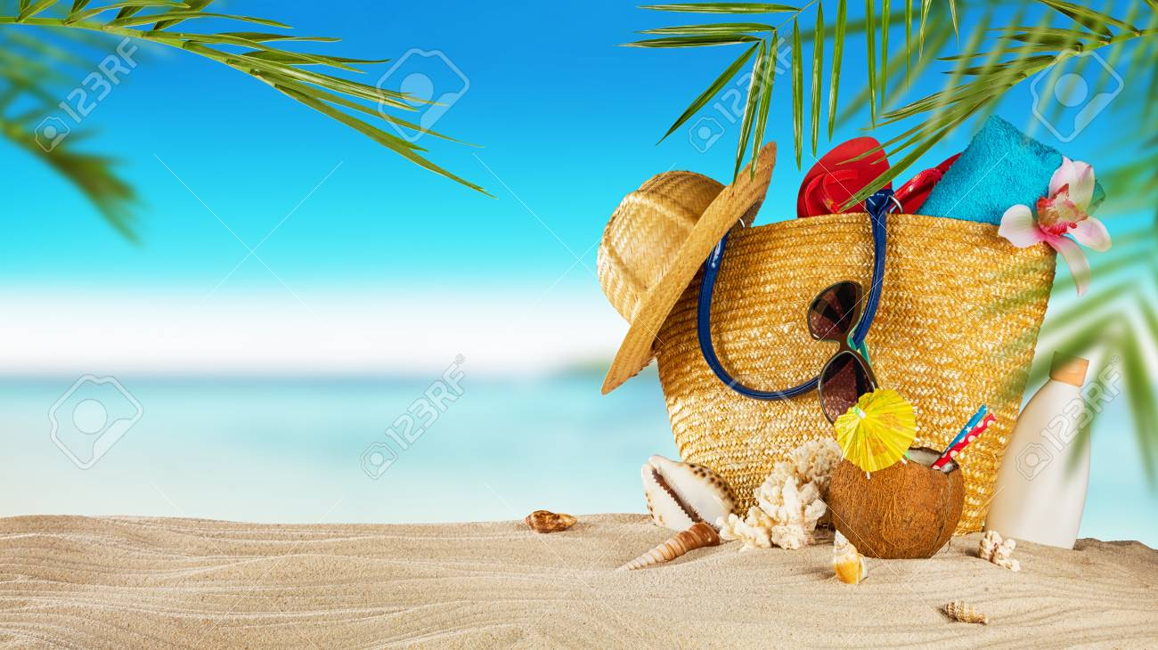 a6204f265bb44 Stock Photo - Tropical beach with sunbathing accessories