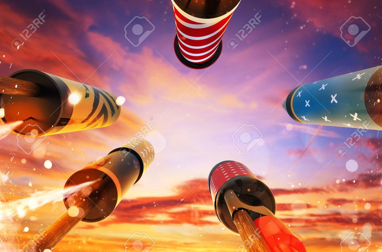 Bottom view of fireworks rockets launching into the sky, free space for text. Concept of celebration and New Years Eve. 3D render of rockets. - 84264528