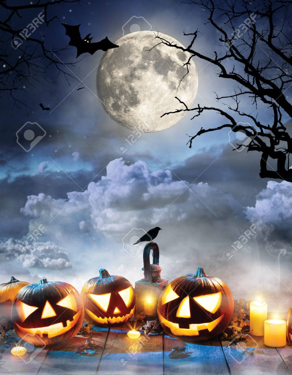 Halloween Spooky Pictures.Spooky Halloween Pumpkins On Wooden Planks With Dark Horror Background