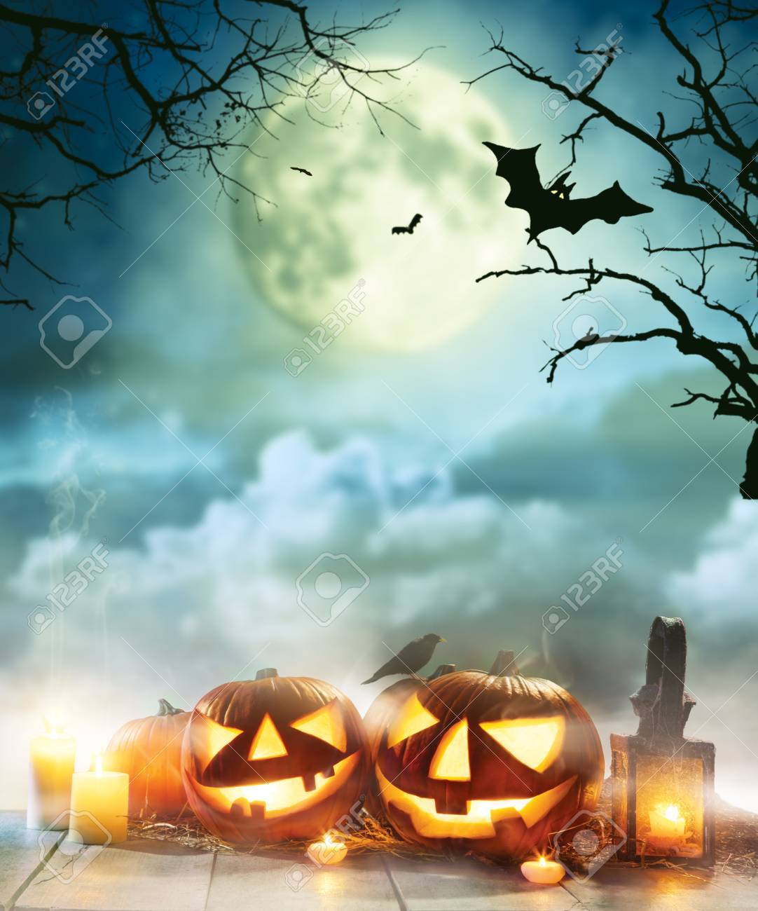 Halloween Spooky.Spooky Halloween Pumpkins On Wooden Planks With Dark Horror Background