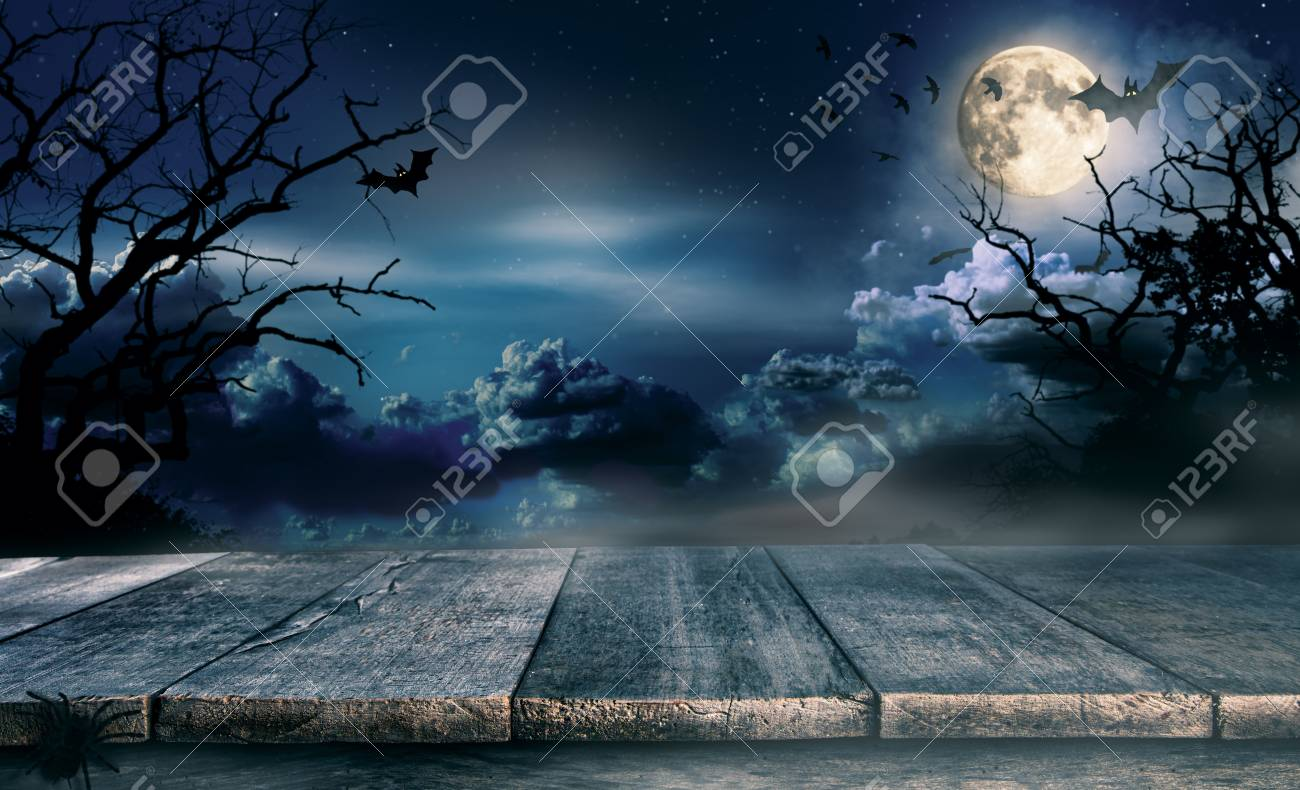 Halloween Spooky.Spooky Halloween Background With Empty Wooden Planks Dark Horror
