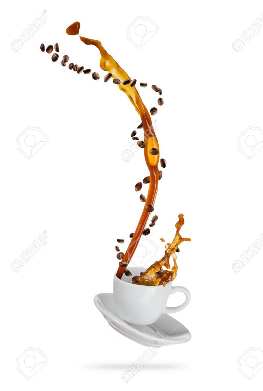 Splashing coffee drink from the cup with flying beans, isolated on white background - 88933364