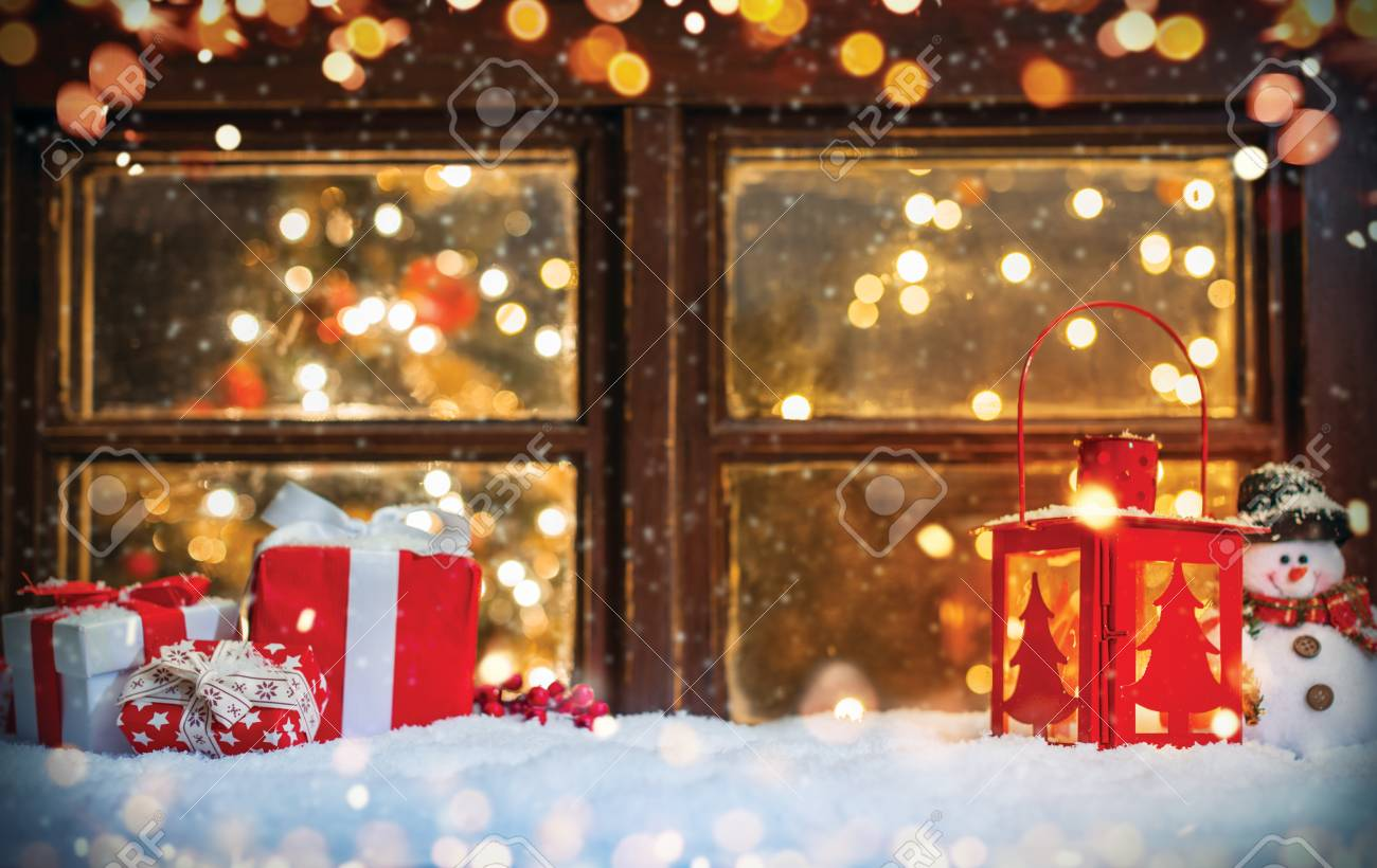 Christmas still life with old wooden window. Celebration background, high resolution image - 88807319
