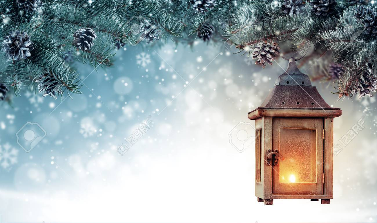 Christmas background with spruce branches and wooden lantern. Abstract holiday concept with empty vintage planks. High resolution image - 90019067