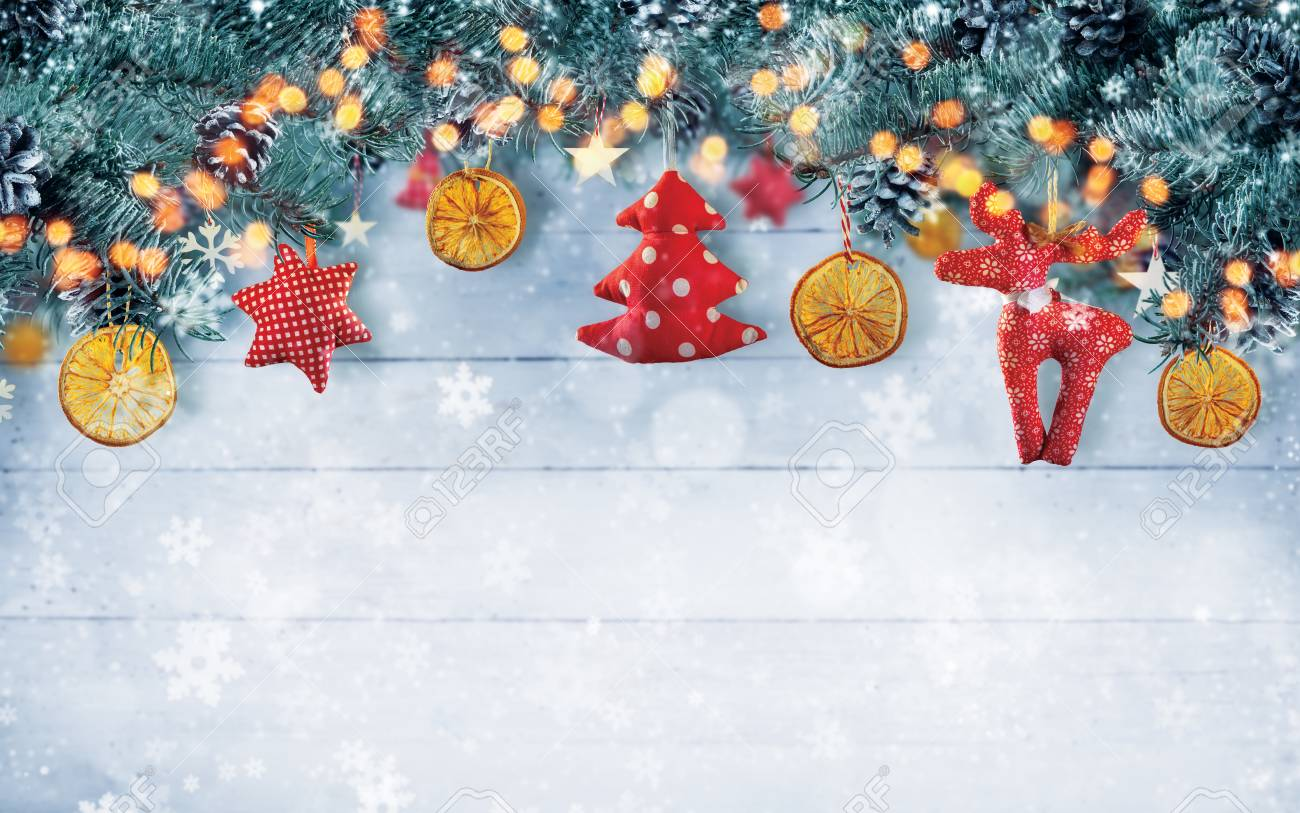 Christmas Background Images Free.Christmas Background With Hand Made Cloth Decorations Free Space