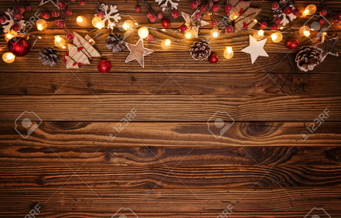Christmas Background Free.Christmas Background With Wooden Decorations And Spot Lights