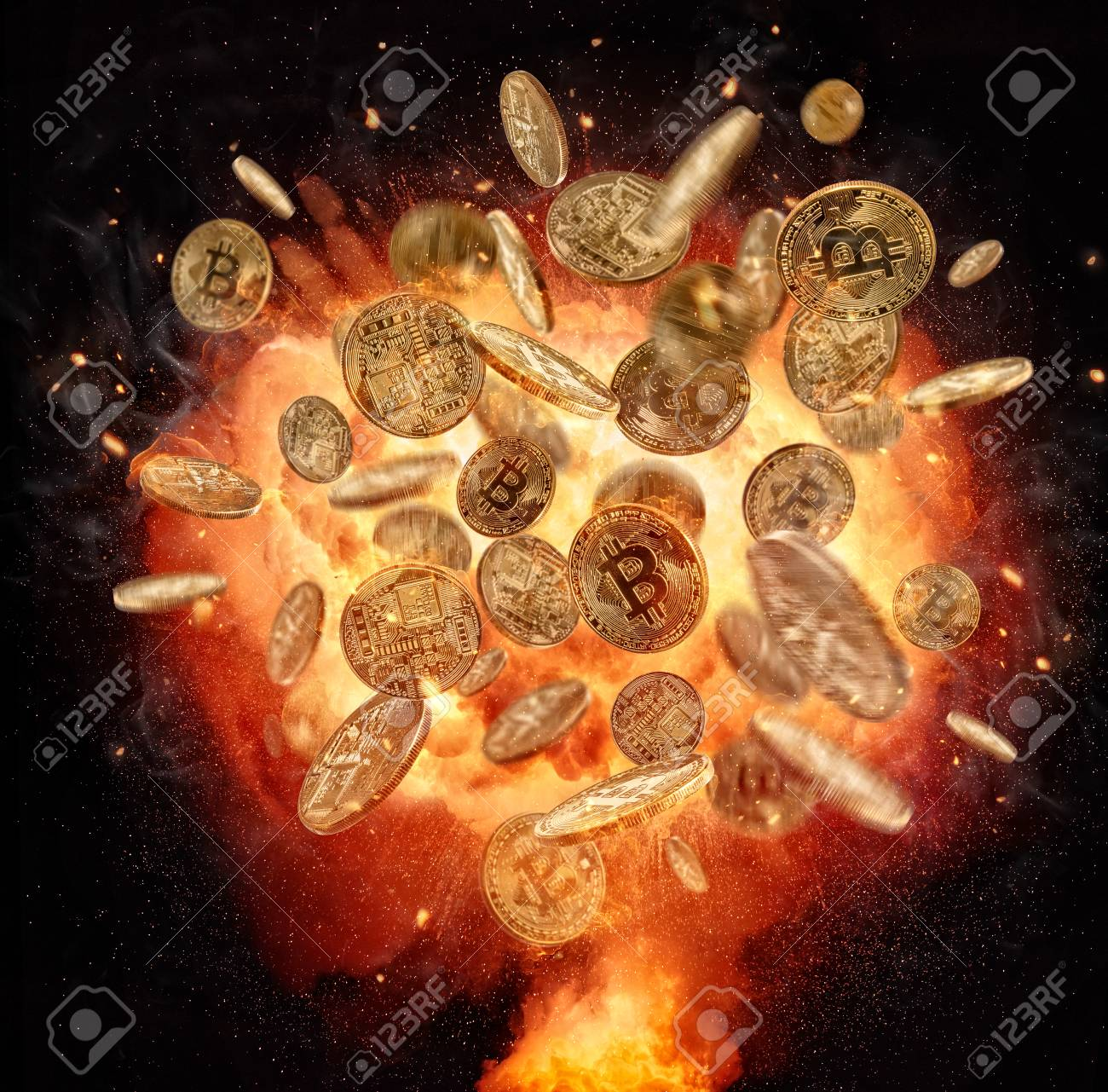 Fire explosion of Bitcoins crypto currency symbol, isolated on black background. Concept of digital currency and risk - 93159851