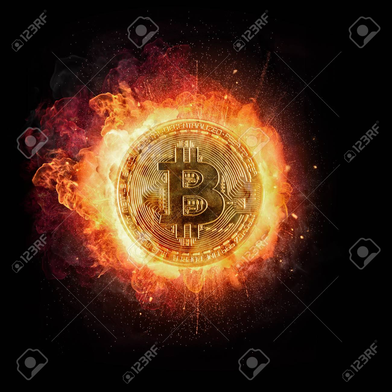 Burning Bitcoin Crypto Currency Symbol Isolated On Black Background