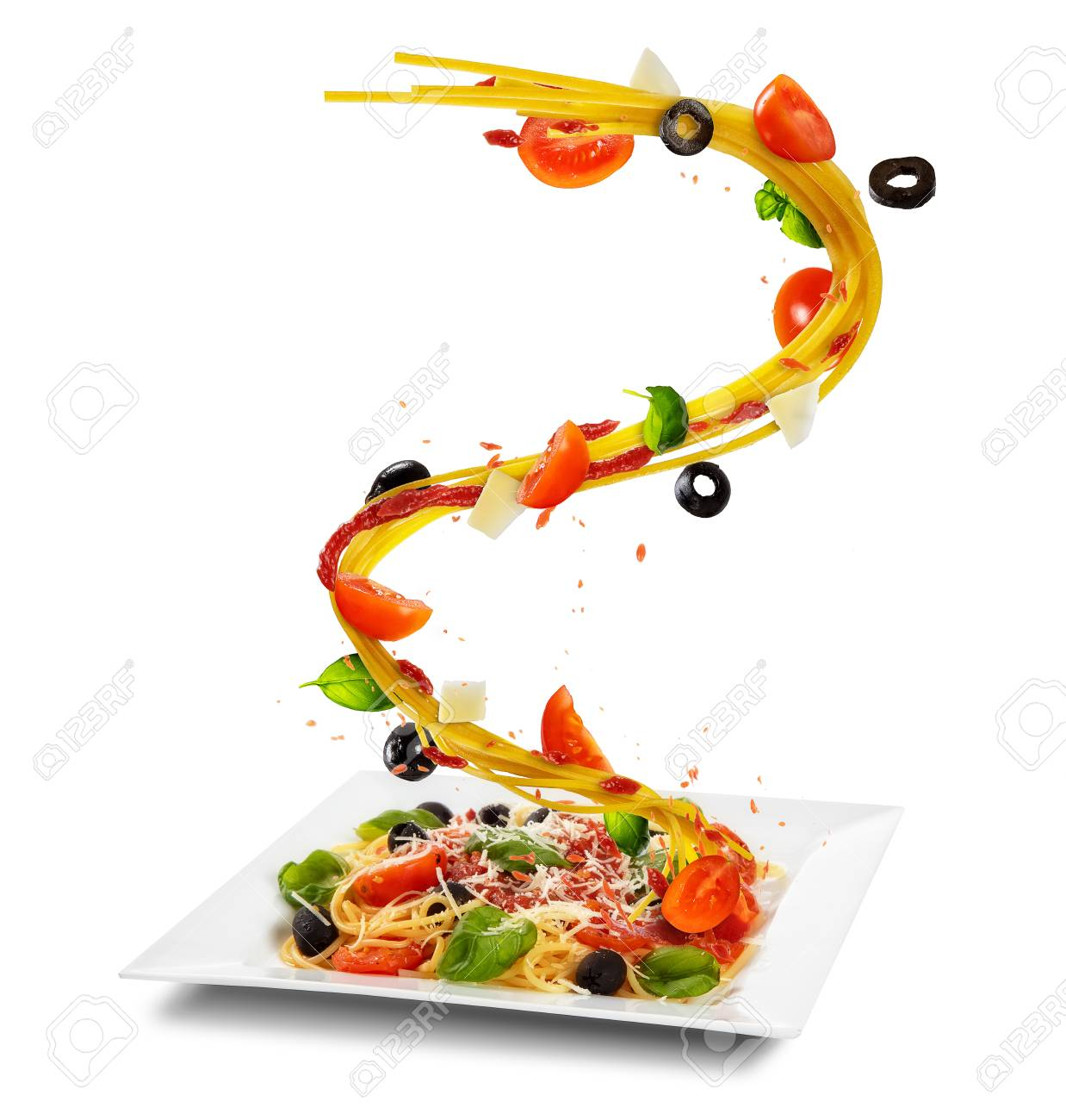 Concept Of Flying Food With Plate And Traditional Italian Pasta