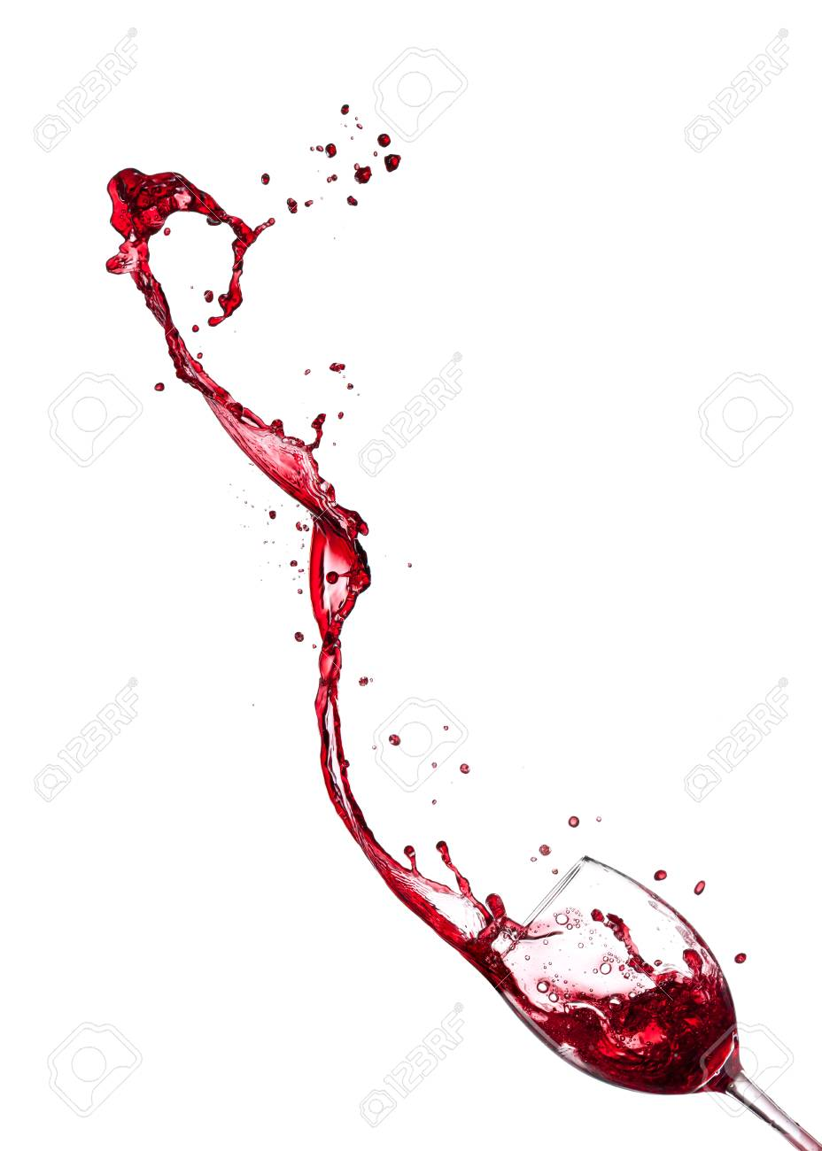 Red wine splashing from glass, isolated on white background. - 98665374