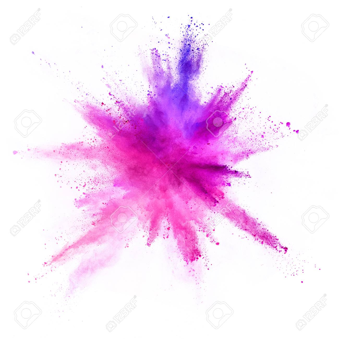 Explosion of coloured powder isolated on white background. Abstract colored background - 106734789