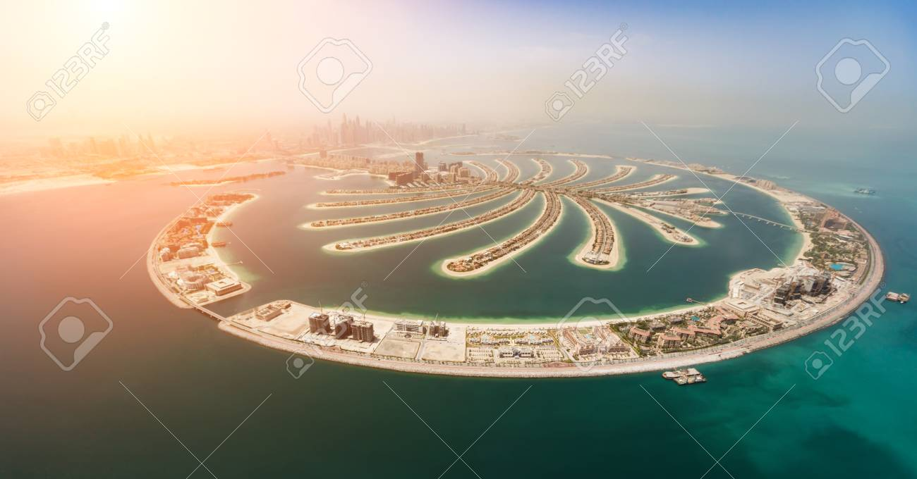 Aerial view of artificial palm island in Dubai. Panoramic view. - 107138963