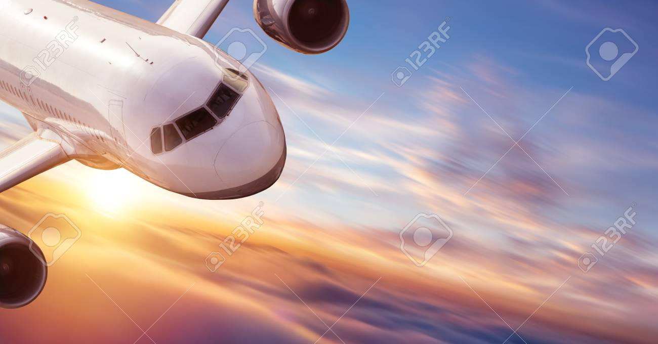 Close-up of commercial jetliner flying at high speed. Concept of modern and fastest way of transportation and danger of accident. - 107412500