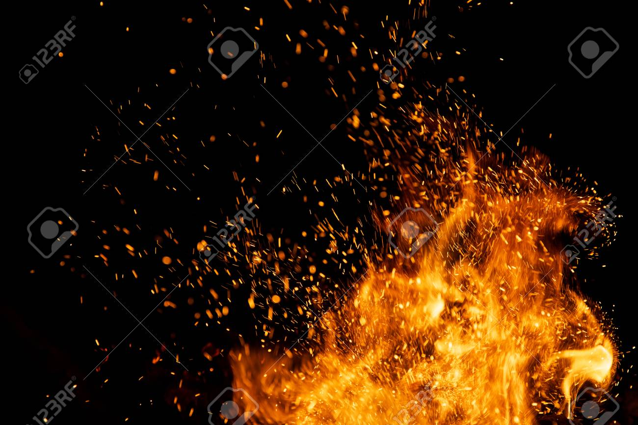 Fire sparks particles with flames isolated on black background. - 109190661