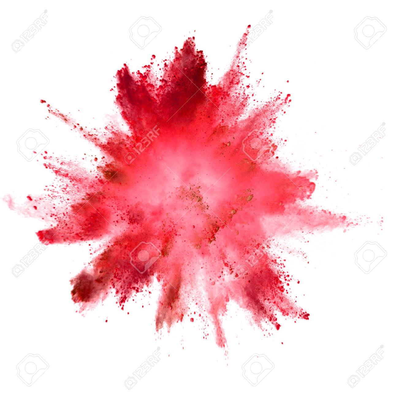Explosion of colored powder isolated on white background. Abstract colored background - 121394028