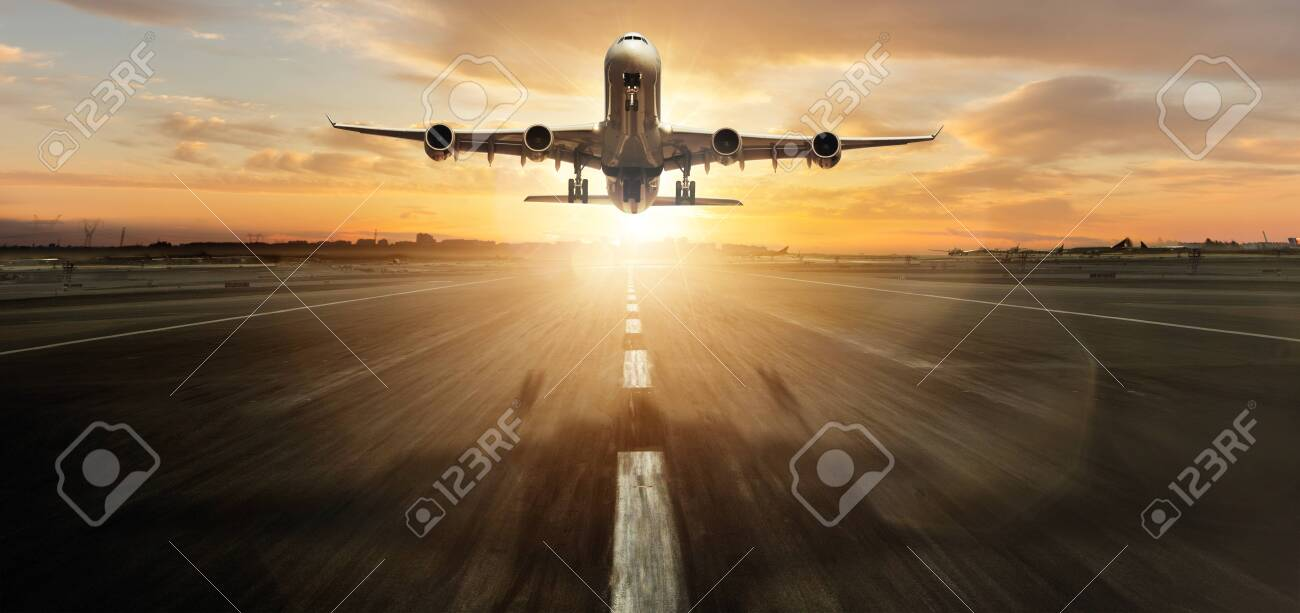 Huge two storey commercial jetliner taking off. - 122413976