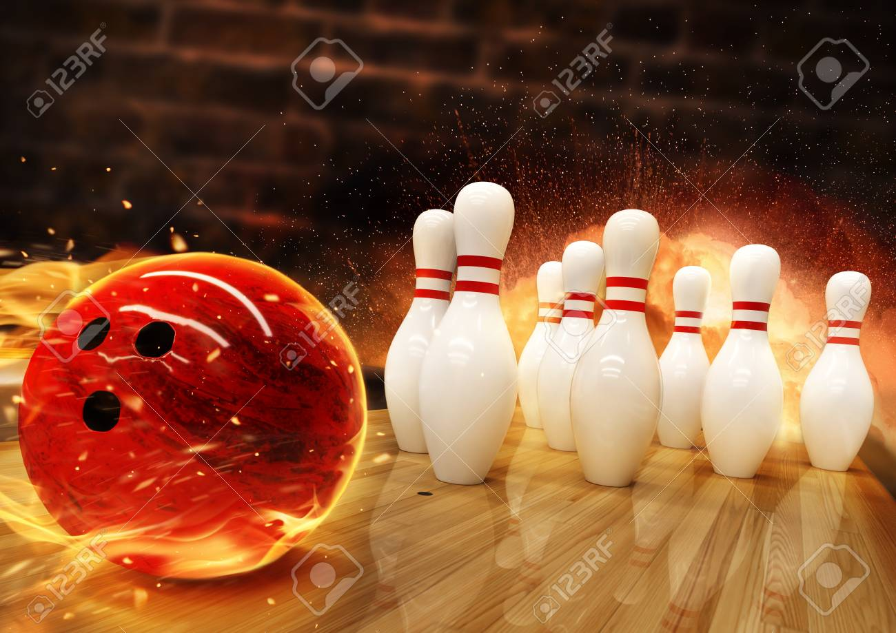 Bowling hit with fire ball rolling on the floor. Concept of success and win. - 122413978