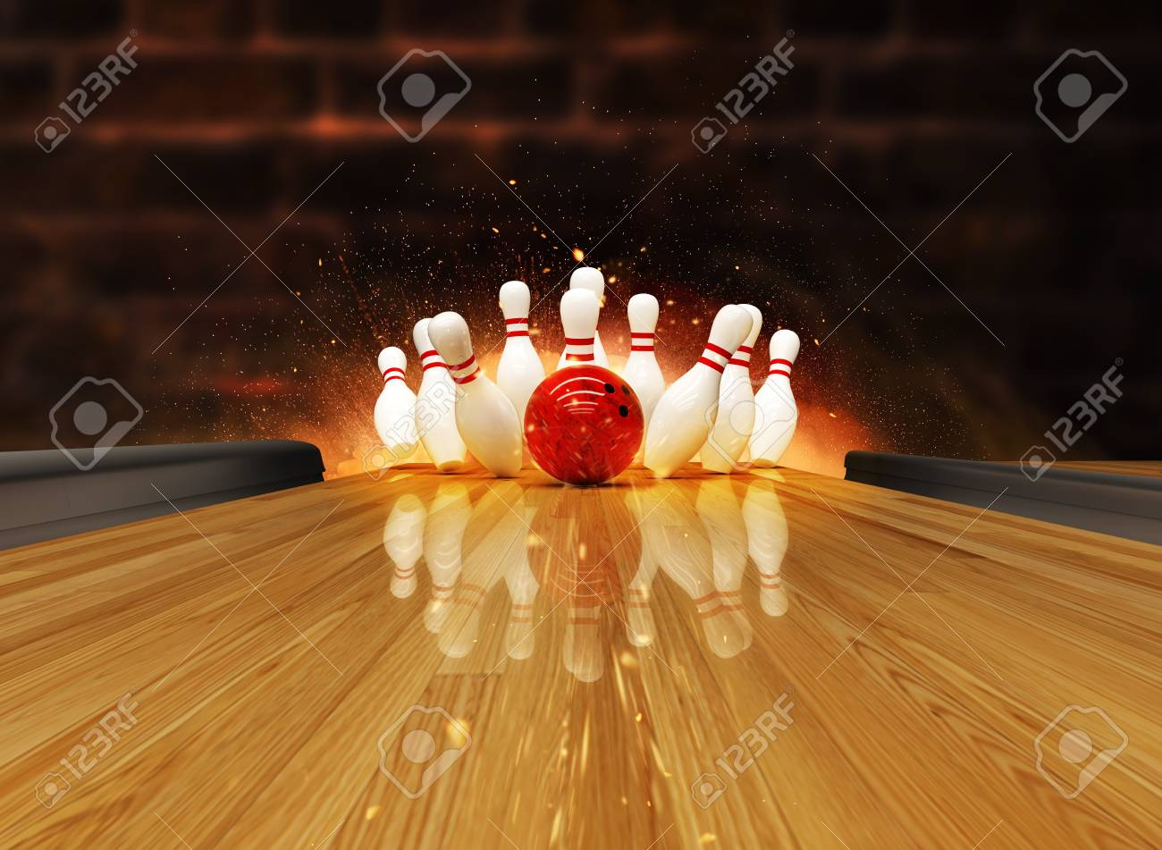 Bowling strike hit with fire explosion. Concept of success and win. - 122413984