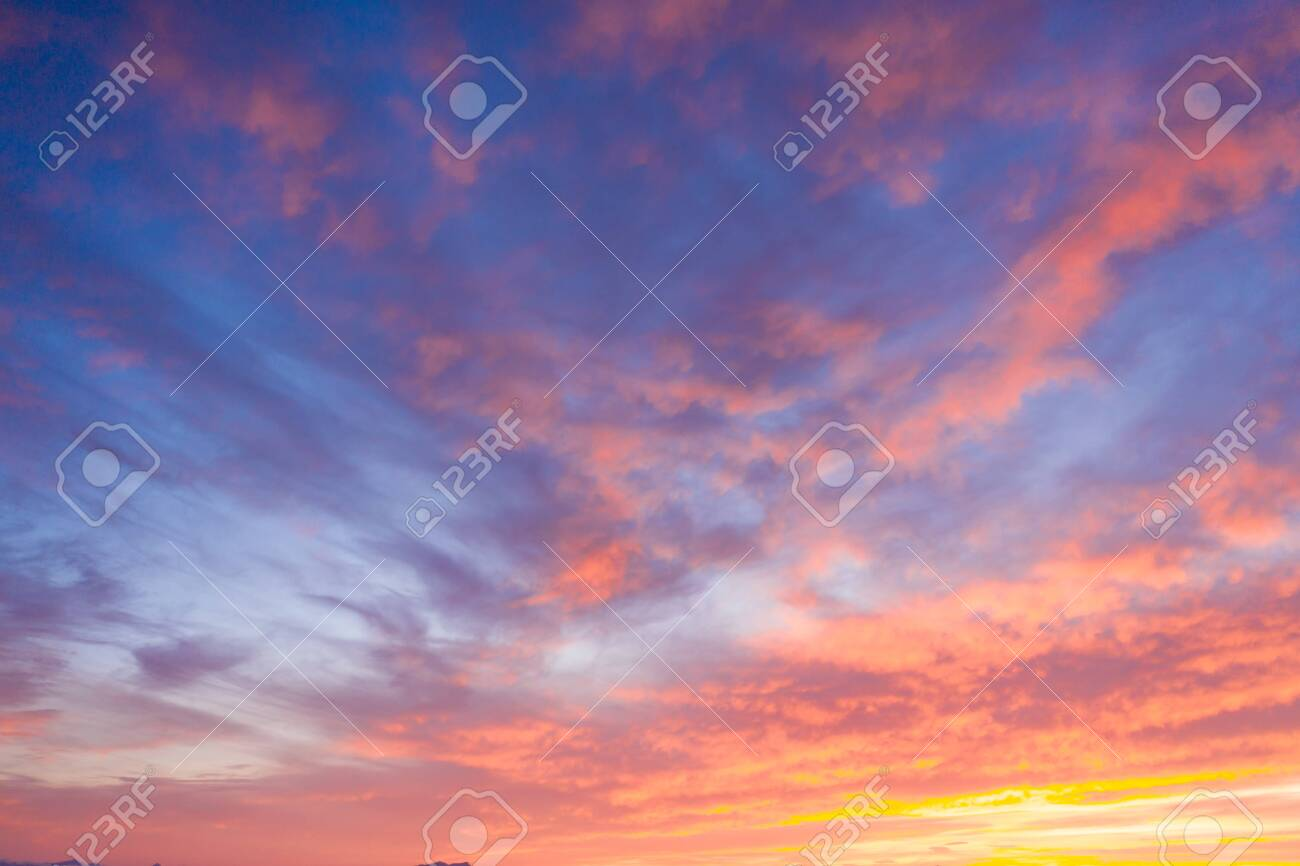 Beautiful sunset clouds in pink colors. Abstract nature background - 125606075