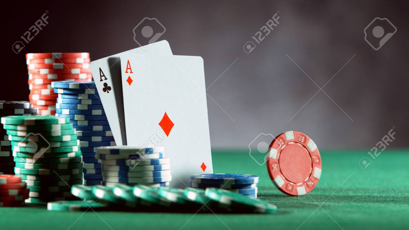 Poker Still Life With Rotating Poker Chip . Concept Of Hazard.. Stock  Photo, Picture And Royalty Free Image. Image 147368237.