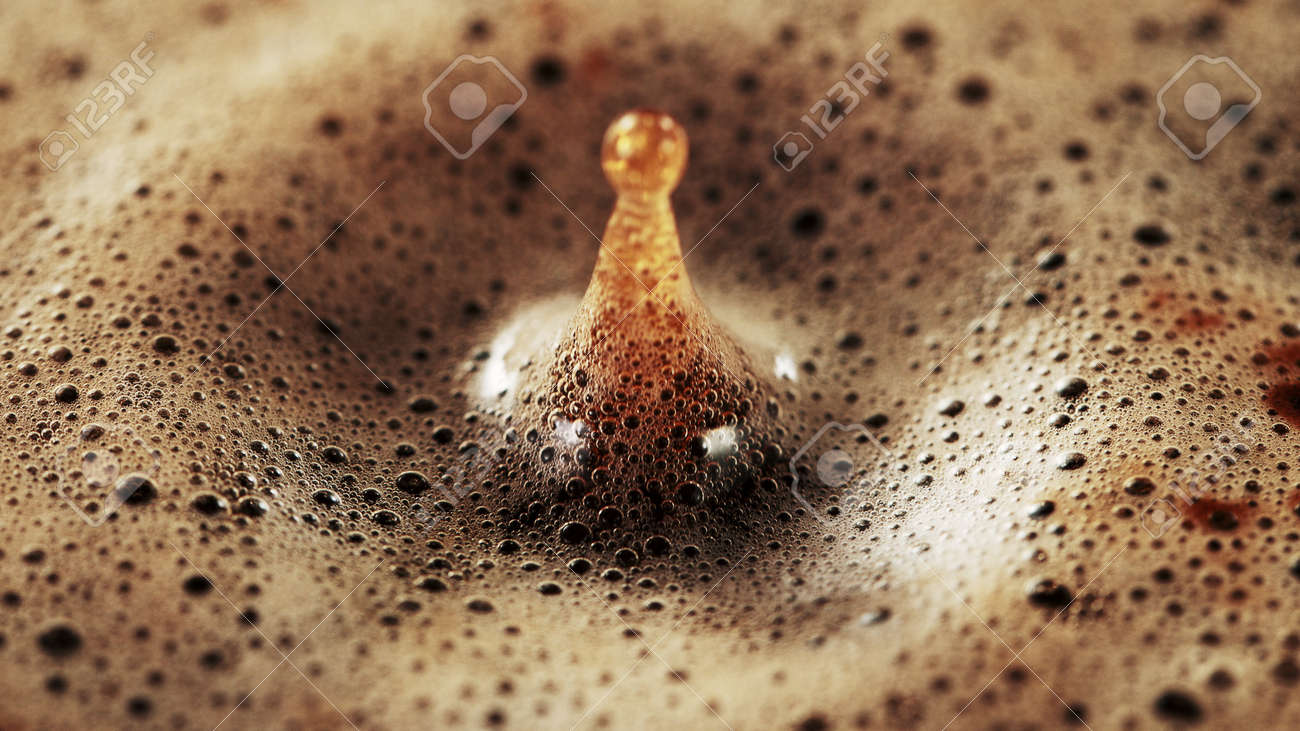 Detail of coffee drink being pour into foamy coffee drink. Abstract coffee background. - 168969653