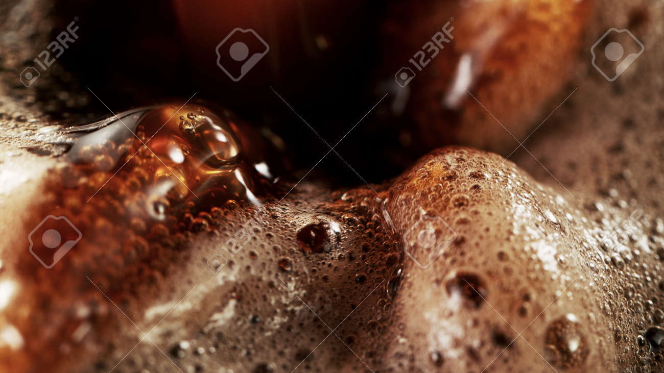Detail of coffee drink being pour into foamy coffee drink. Abstract coffee background. - 168969968