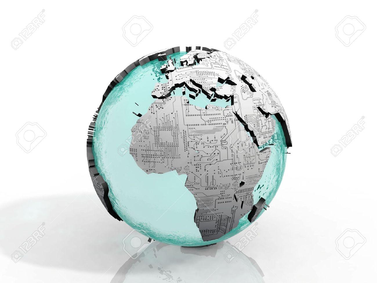 the Earth  printed circuit board Stock Photo - 10760565