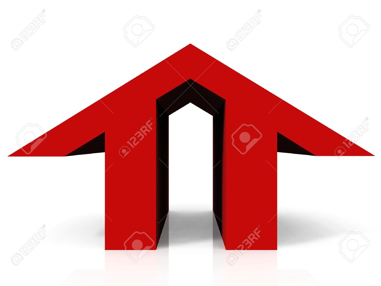 the logo shaped red home Stock Photo - 10760275
