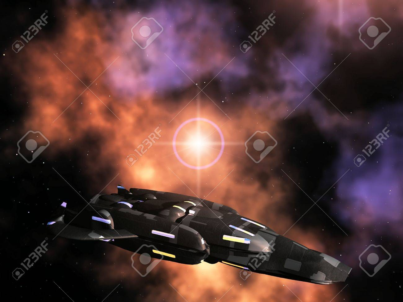 spaceship  against a galaxies background Stock Photo - 10956865