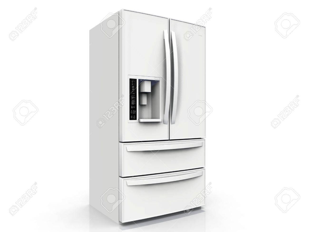 Amerikanischer Kühlschrank Bilder : Amerikanischer kühlschrank auf weißem hintergrund lizenzfreie
