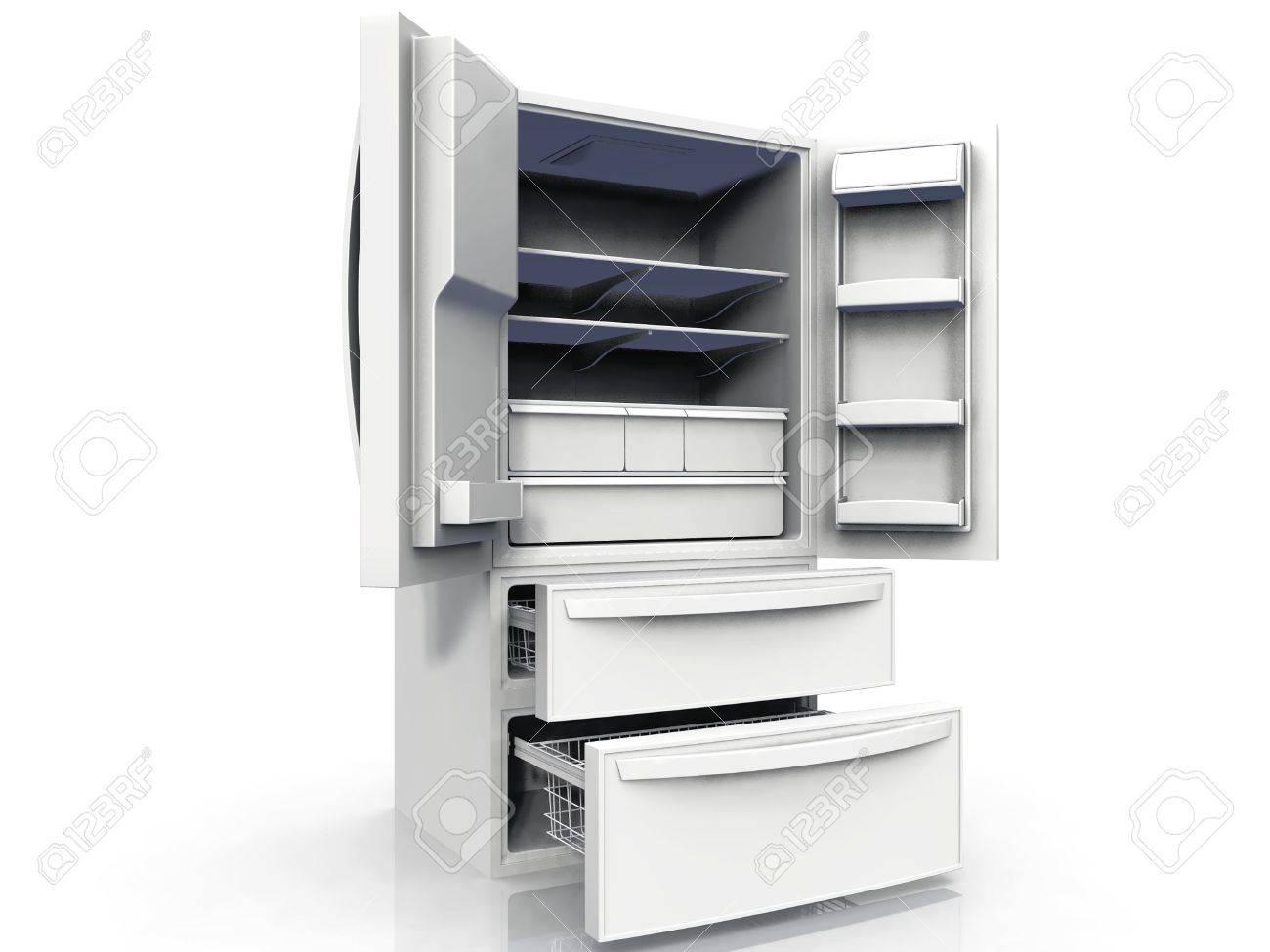 Amerikanischer Kühlschrank : Amerikanischer kühlschrank auf weißem hintergrund lizenzfreie