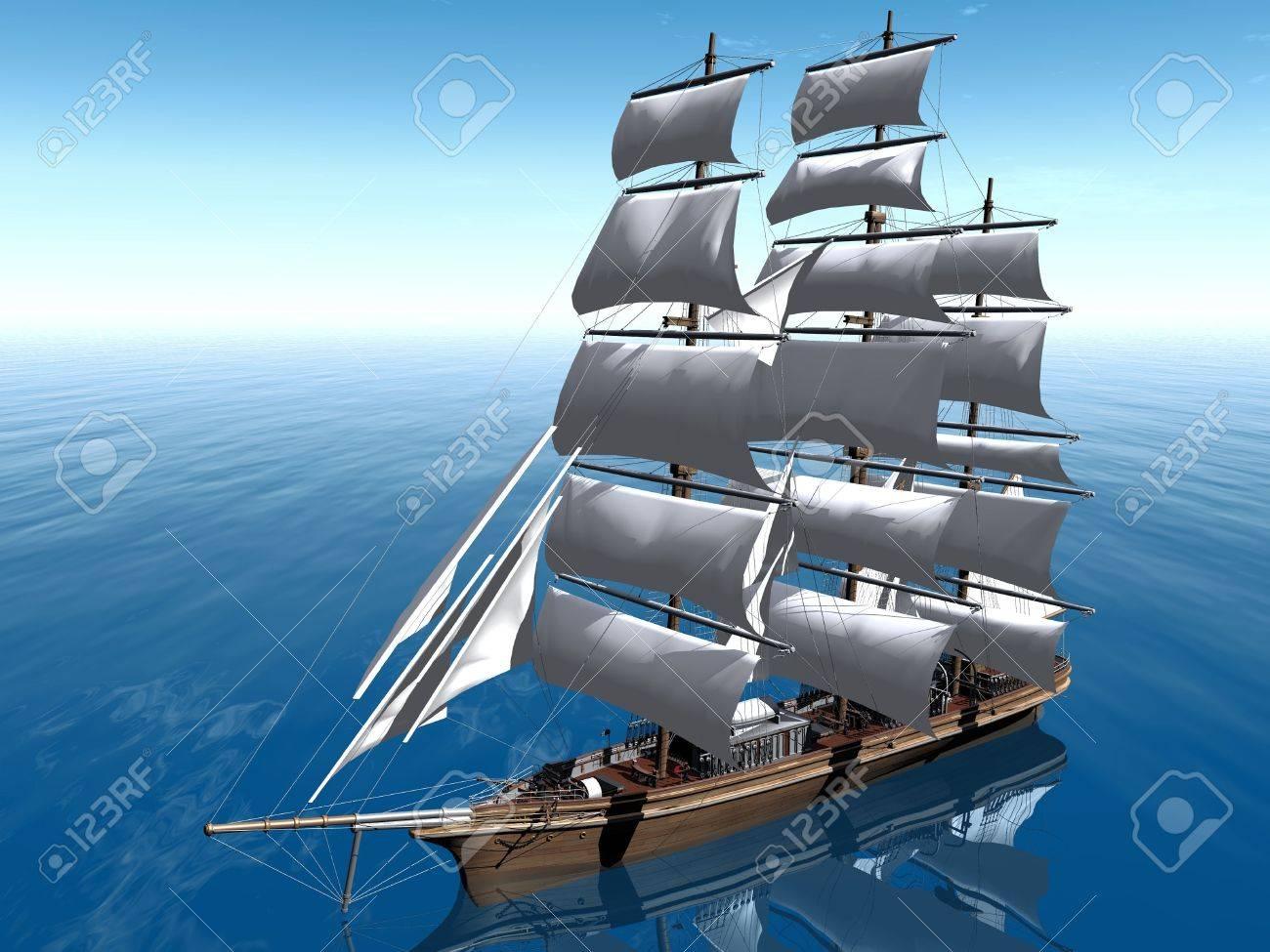 Segelschiffe auf dem meer  Dreimaster Segelschiff Auf Dem Meer Lizenzfreie Fotos, Bilder Und ...