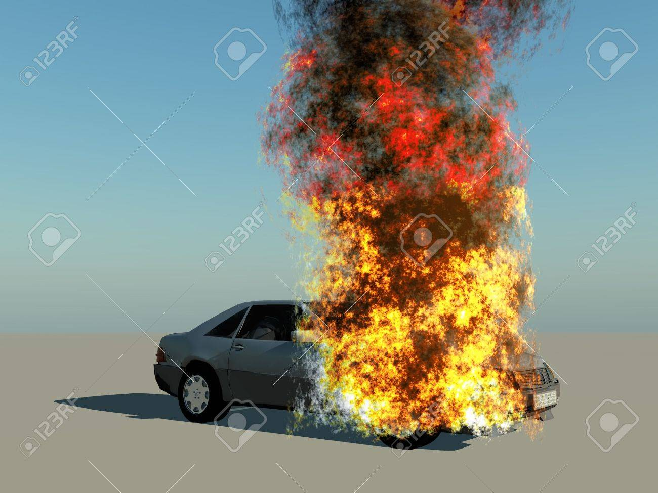 a burning car on blue background Stock Photo - 10974704