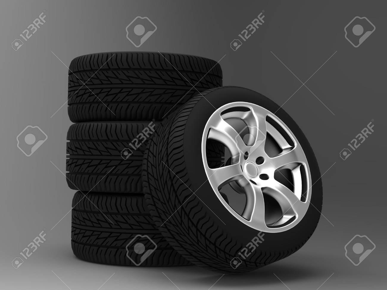 a set of four wheels Stock Photo - 11241750