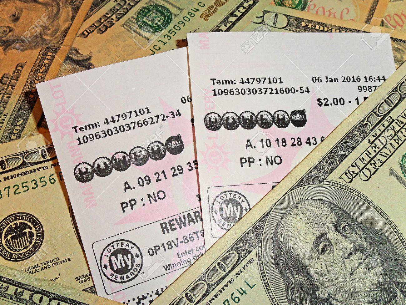 Powerball lottery tickets on a US currency background