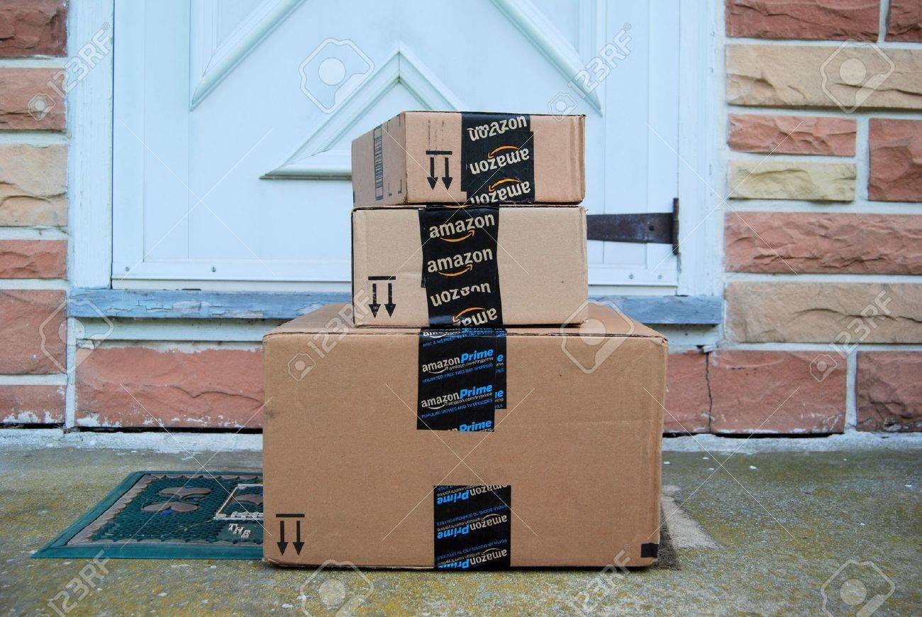Front Door Step amazon packages on a front door step stock photo, picture and