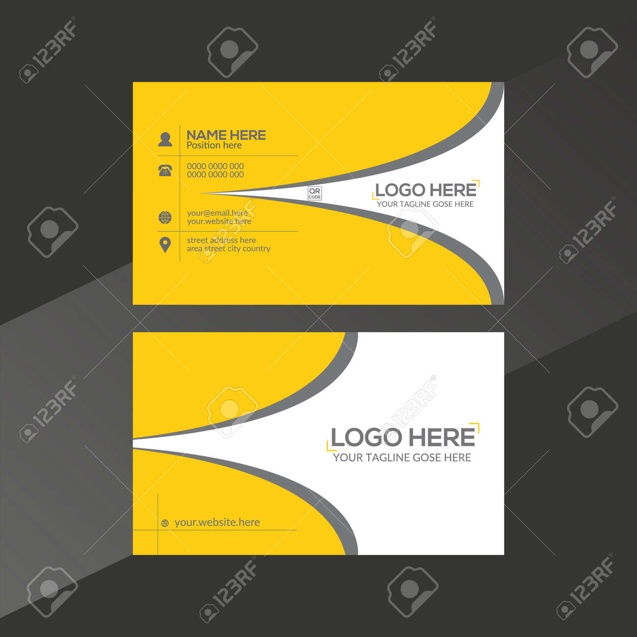 orange and gray colored vector business card design for any company use - 171793815