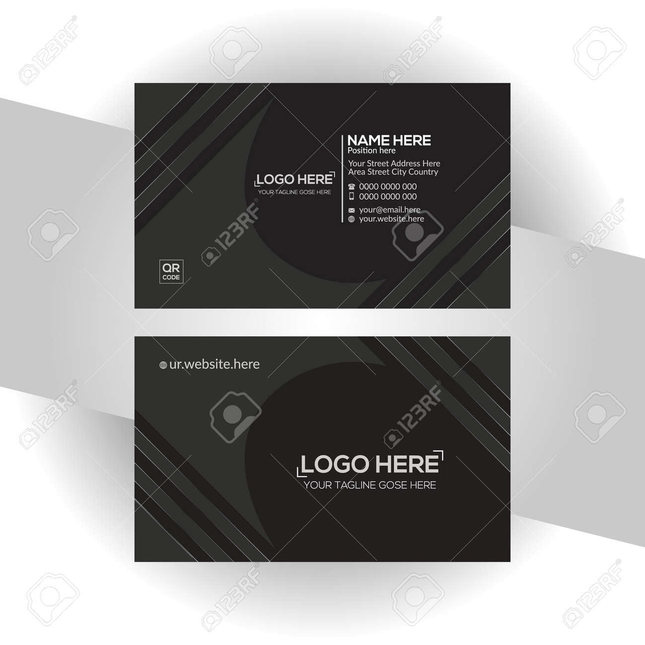 black colored vector business card design for any company use - 171793845