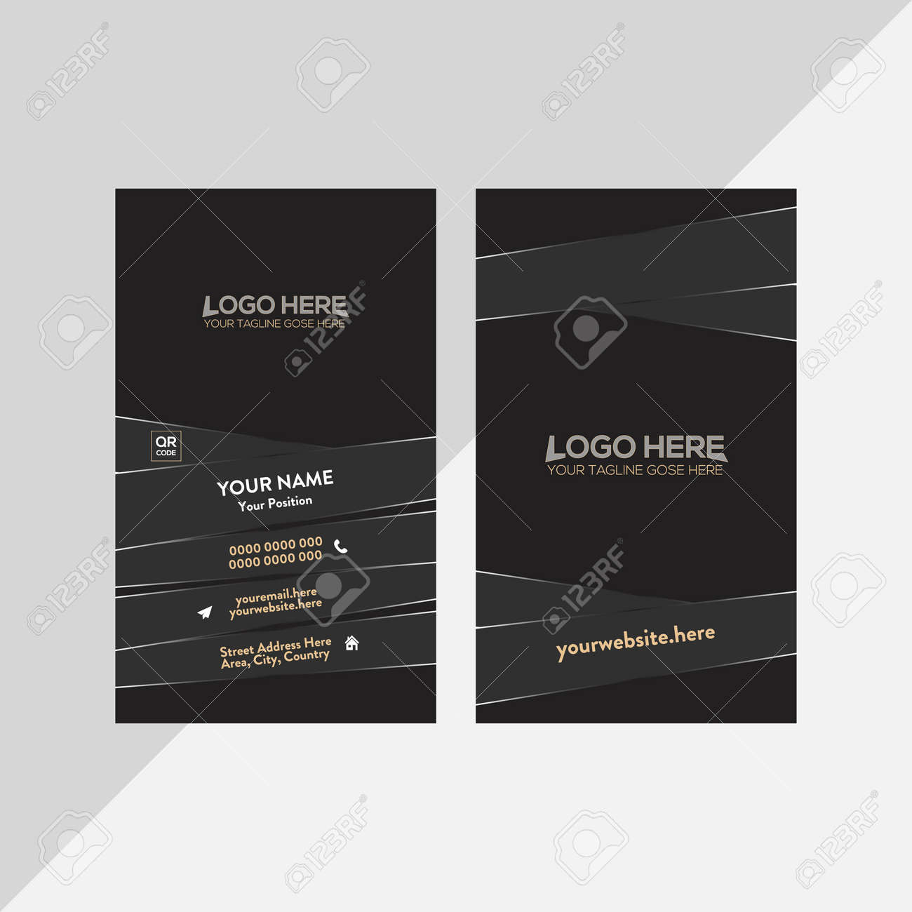 black and brown colored vector business card design for any company use - 171794031