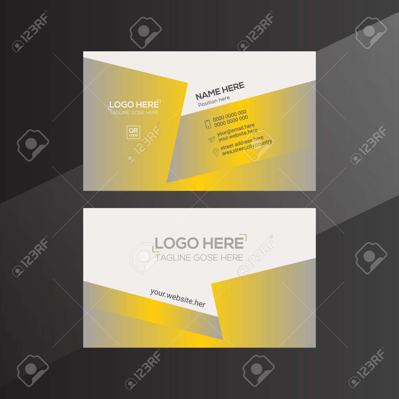 orange and gray colored vector business card design for any company use - 171795302