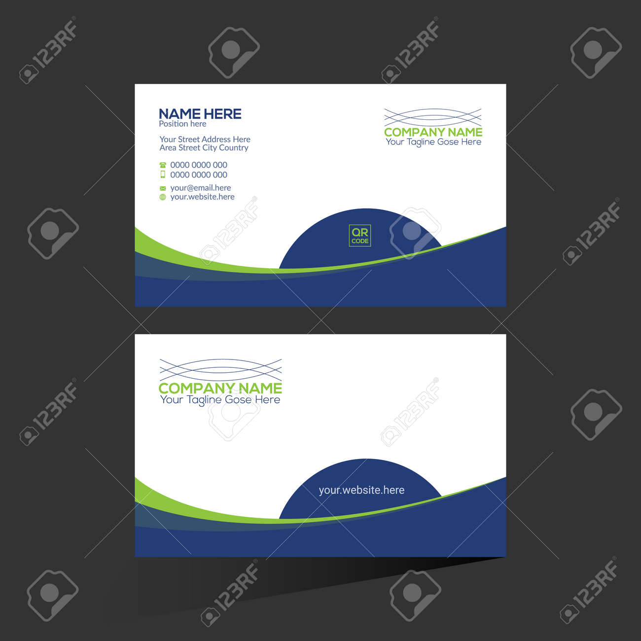 blue and green colored vector business card design for any company use - 172189131