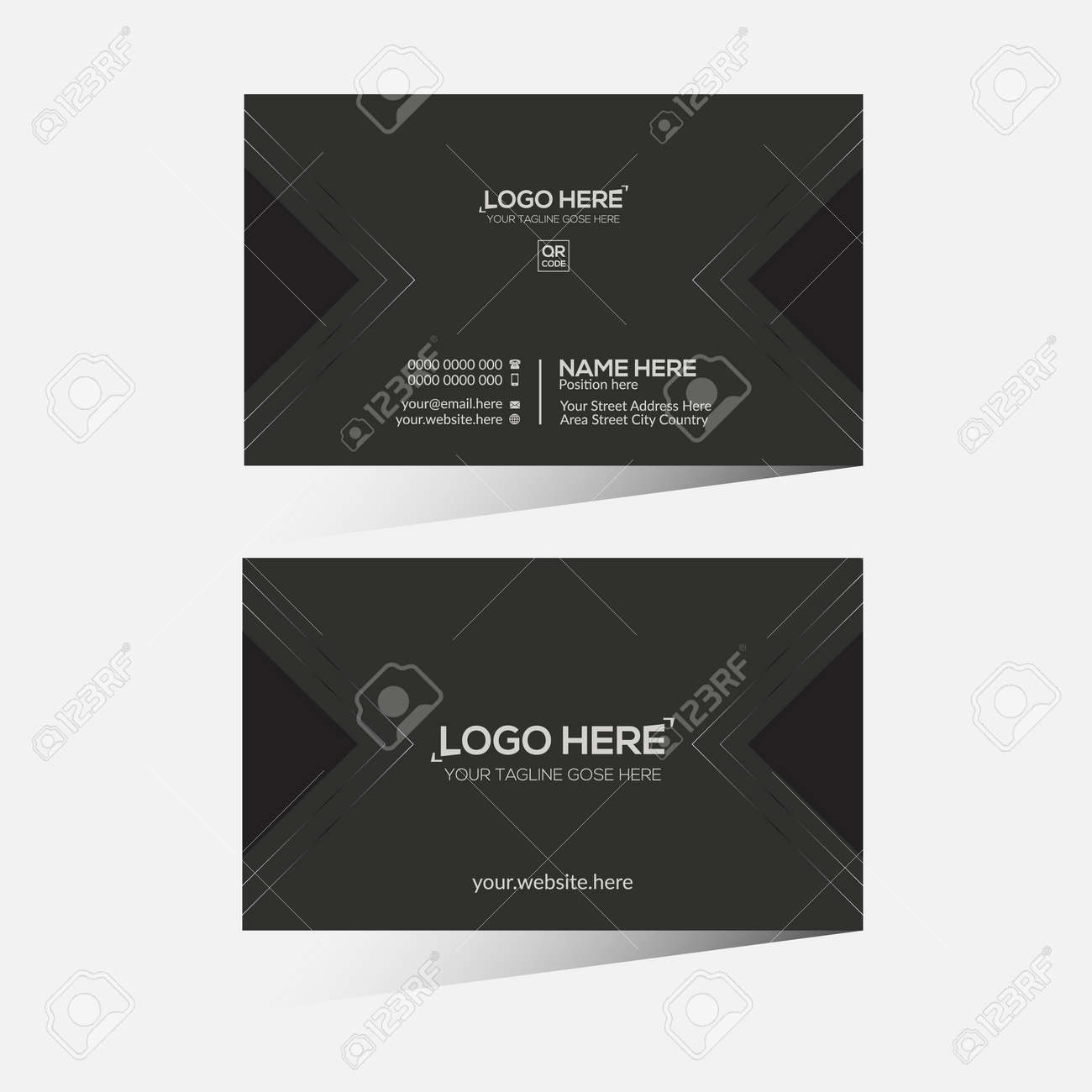 black colored vector business card design for any company use - 172189474