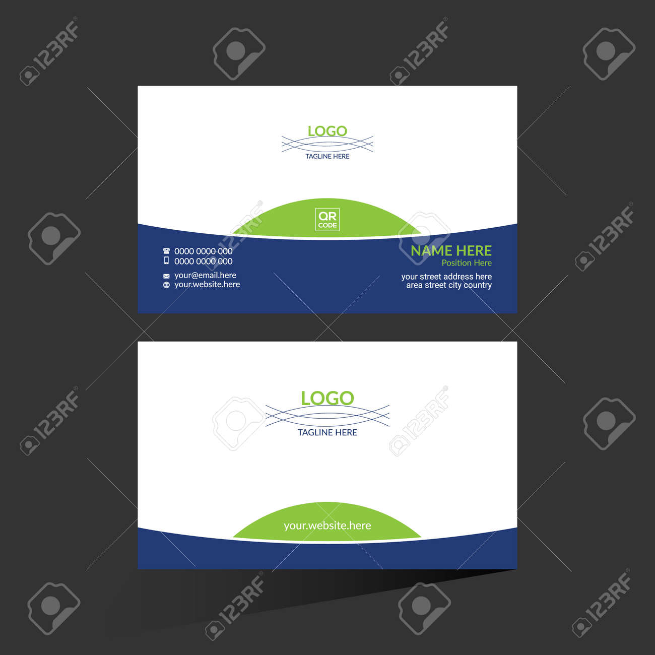 blue and green colored vector business card design for any company use - 172189360