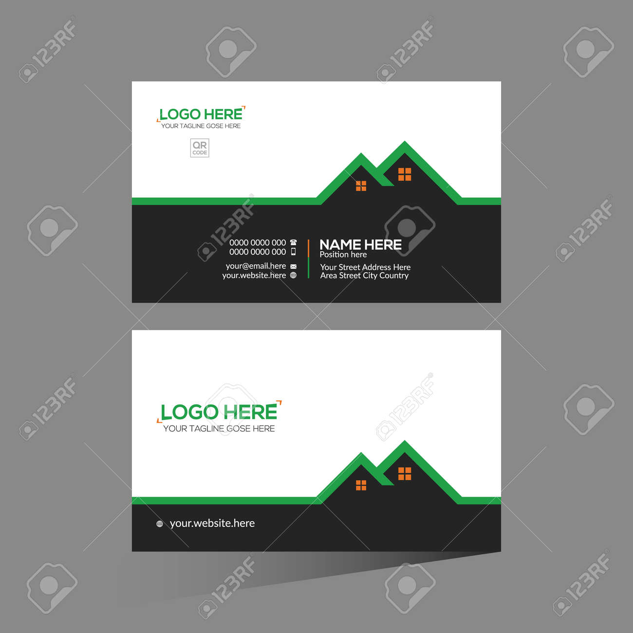 black and green and orange colored vector business card design for corporate use - 172188564