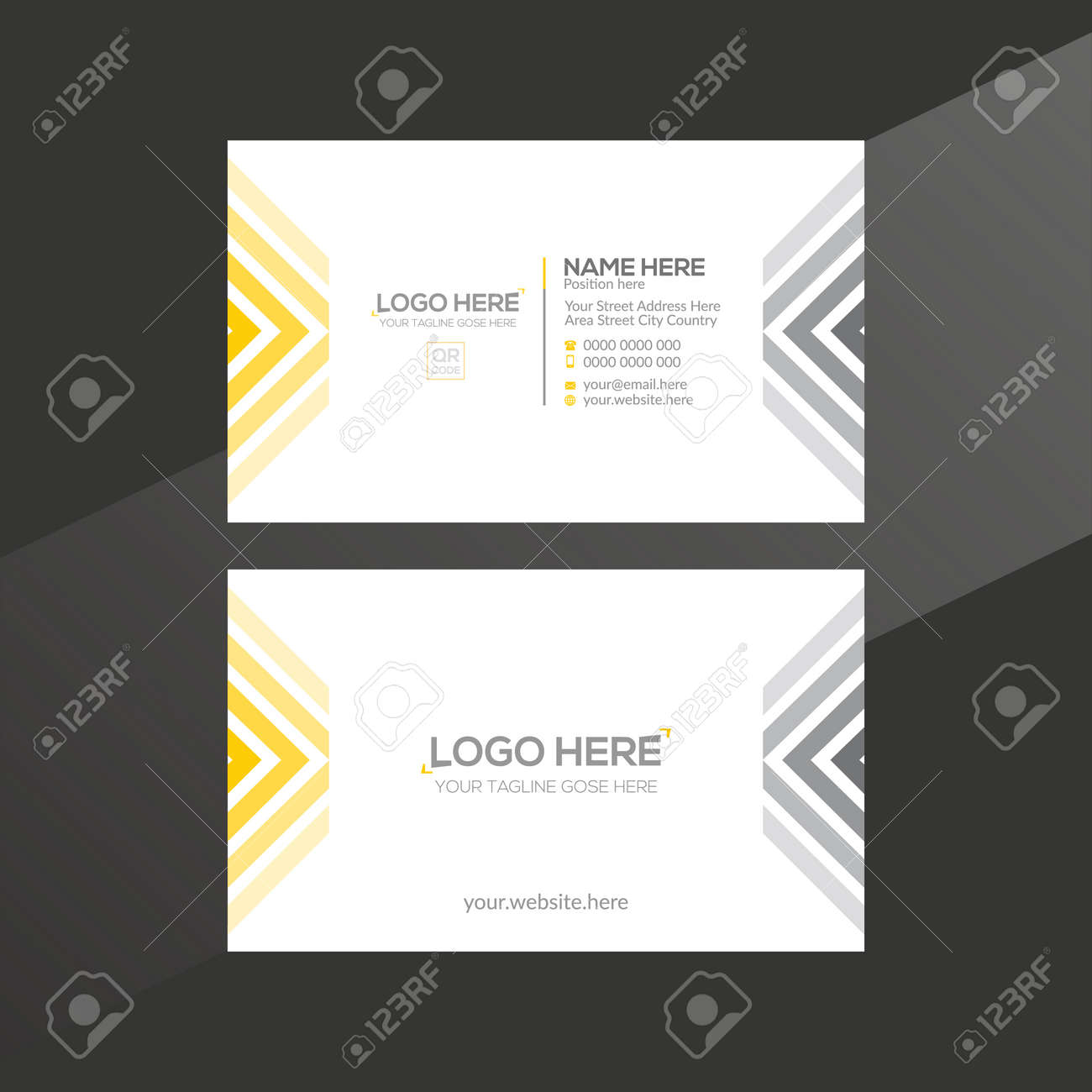 orange and gray colored vector business card design for any company use - 172189114