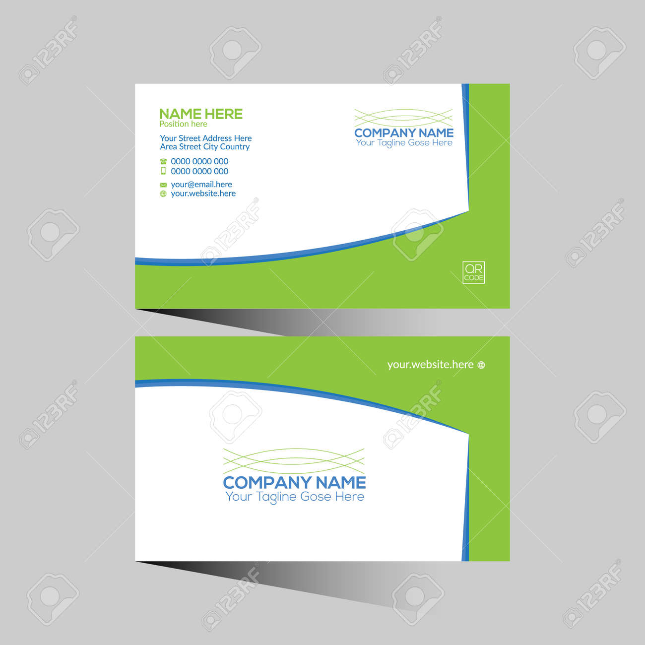 blue and green colored vector business card design for any company use - 172189047